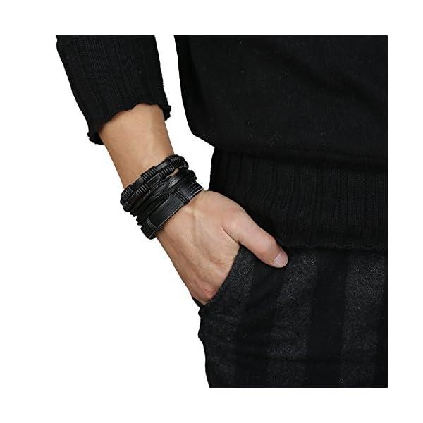 Jstyle 12Pcs Braided Leather Bracelet for Men Women Cuff Wrap Bracelet Adjustable Black and Brown (A:12Pcs)