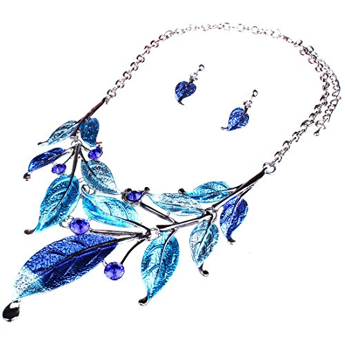 Vintage Blue Rhinestone Necklace - Moxeay Womens Vintage Crystal Rhinestone Leaves Bib Statement Collar Chain Necklace Earring Sets (Blue)