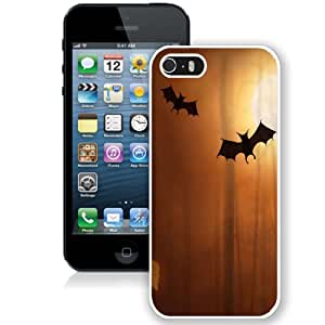 NEW Unique Custom Designed iPhone 5S Phone Case With Cute Bats Halloween Illustration_White Phone Case