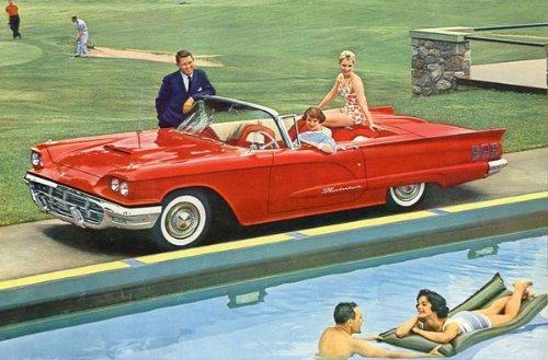 1960 FORD THUNDERBIRD HARDTOP & CONVERTIBLE PRESTIGE COLOR SALES BROCHURE - BEAUTIFUL VINTAGE ORIGINAL USA !!