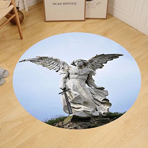 Gzhihine Custom round floor mat Sculptures Decor Collection Sculpture of an Angel with Dark Background Catholic Belief Century Old Artwork Pattern Bedroom Living Room Dorm Dimgrey by Gzhihine