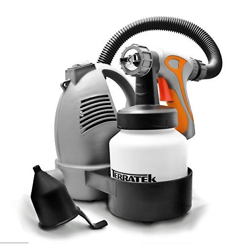 Terratek Electric Paint Sprayer Hand Held Spray Gun System 650W, Fence Sprayer Ideal for Gloss, Satin, Varnish, Fence Paint, 3 Spray Patterns, Adjustable Paint Flow Valve (700W DIY)
