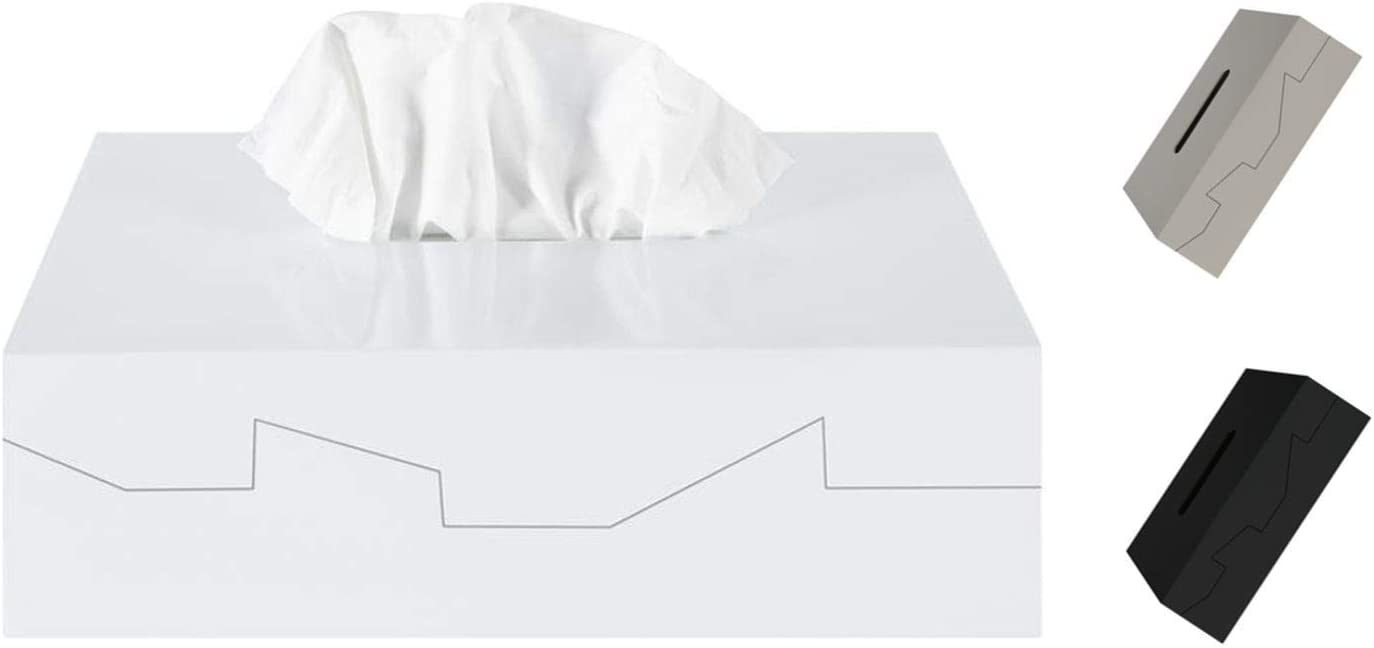 wei/ß Essey Kosmetikt/ücher-Box Wipy Cube II rechteckiger Taschentuchspender Design Taschentuchbox