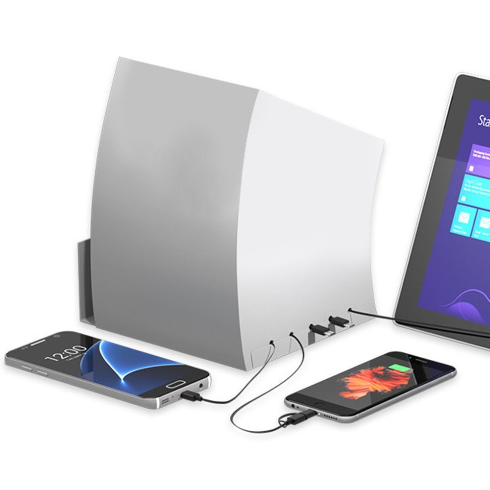 ChargeTech - Battery-Powered Portable Cell Phone Charging Station Dock w/ 5 Universal Charging Tips Included for Multiple Devices: iPhone, iPad, Samsung Galaxy, Tablet (Model: PCS5) [White]
