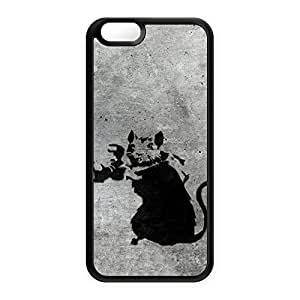 Banksy Rat with Camera 2 Black Silicon Case Snap-On Protective Back Cover Rubber Case for Apple? iPhone 6 by Banksy + FREE Crystal Clear Screen Protector