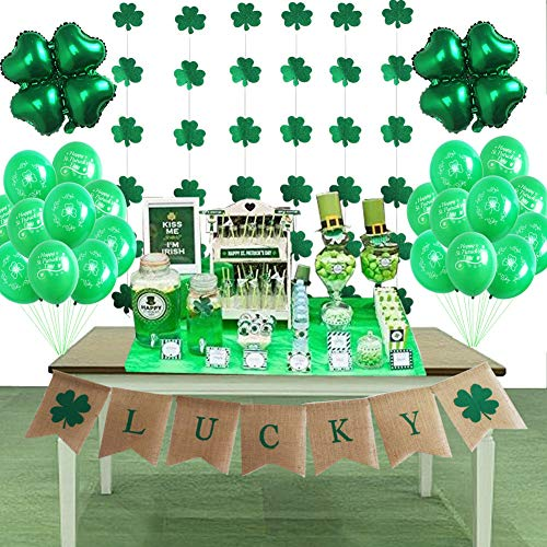 St Patrick's Day Decorations Supplies Lucky Banner Shamrock Balloons and Hanging Garland For Irish Fesitival Party Décor ()