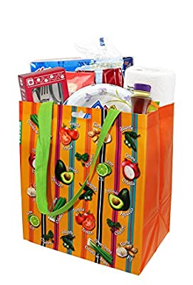 Earthwise Fruits & Veggies Eco Friendly Reusable Grocery Shopping Tote Bag ( 6 Pack)