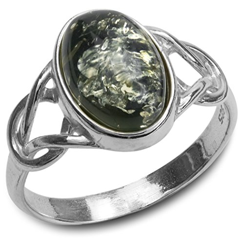 Green Amber Sterling Silver Oval Celtic - Charm Birthstone Italian Square