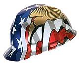 MSA 10052947 V-Gard Hard Hat Front Brim with Ratchet Suspension, Standard, American Flag w/ 2 Eagles