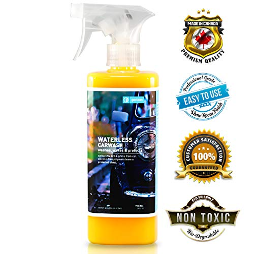 Goclean Waterless Car Wash and Wax - Premium Detailer Spray Wax for Car Cleaning, Shining, Protecting - Non-Toxic, Eco-Friendly, Fully Waterless Car Wash Formula - Rinseless Detailing Spray 24oz (Best Waterless Car Cleaner)