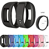 For Samsung Gear Fit 2/ Gear Fit 2 Pro Bands, Silicone Wirstband Replacement Strap/Bracelet for Gear Fit 2 Pro Smart Watch Fitness, Large Small for Women Men (Black, Large)