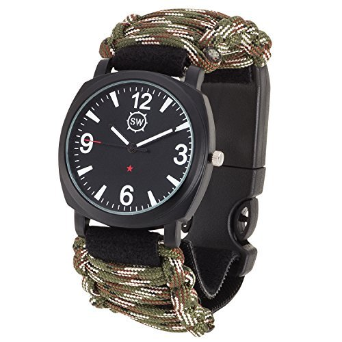 Survival Watch V3 | Ultimate Emergency Survival Gear | Features Military Grade Paracord, Compass, Whistle, & Fire Starter | Water Resistant | Adjustable Paracord Band | 4 Colors (Camo) (Field Watch Ultimate)