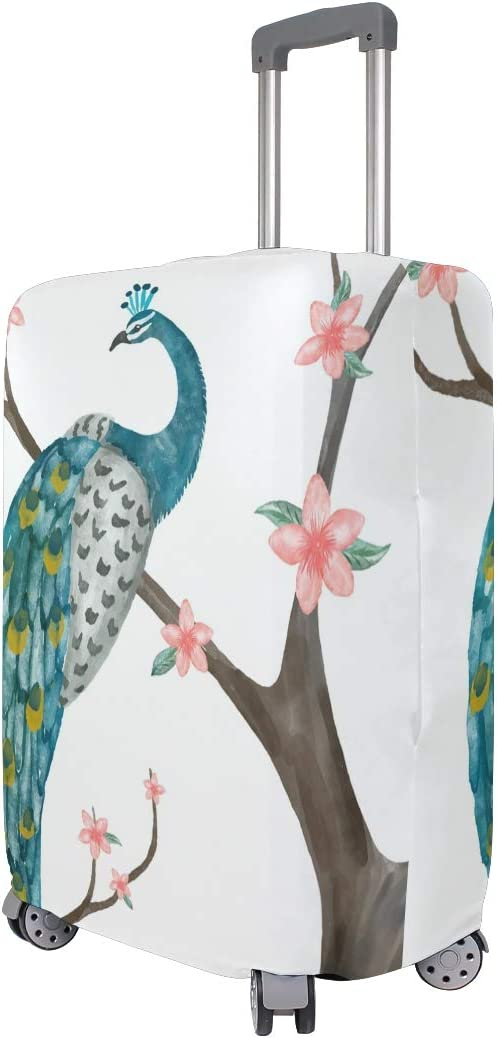 Cute 3D Watercolor Peacock With Flower Pattern Luggage Protector Travel Luggage Cover Trolley Case Protective Cover Fits 18-32 Inch