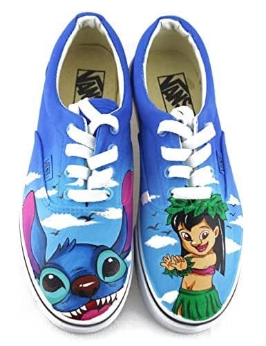 de9110f58b Amazon.com  Lilo and Stitch Vans White Shoes Original Design Canvas ...
