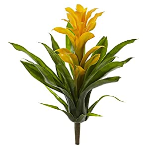 Nearly Natural 2238-S4-YL 15 in. Bromeliad Artificial (Set of 4) Silk Flowers Yellow 26