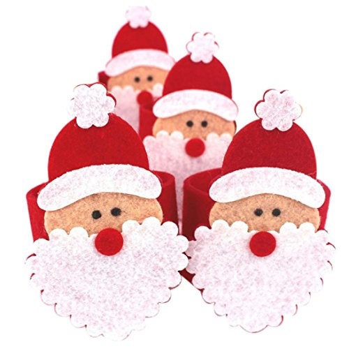 [Tenworld 4Pcs Christmas Santa Claus Napkin Rings Serviette Holder Table Serviette Xmas] (Grinch Costume Diy)