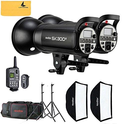 GODOX SK300II 800W 2.4G Photography Flash Studio Strobe Kit Two 300w Sk300II Monolight Lighting,Includes 2X 300W SK300II Strobe Light+2X Light Stand+2X 60X90 CM Soft Box+1X Standard (Gemini Umbrella Kit)