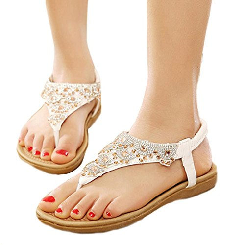 Pointed hollow out breathable flat sandals women white - 8