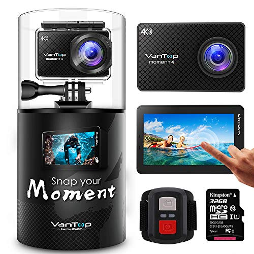 VanTop Moment 4 4K Sports Action Camera w/ 32GB Microsd Card, 20MP Sony Sensor, EIS, Touch Screen, Adjustable View Angle, 30M Waterproof, Remote, Dual Battery & GoPro Compatible Accessories Kit (Camera Underwater Video)