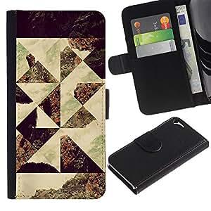 Billetera de Cuero Caso Titular de la tarjeta Carcasa Funda para Apple Iphone 5 / 5S / Geometrical Photo Art Seashore / STRONG