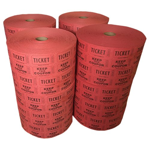 Muncie Novelties Double Roll Tickets Full Case - Red (2000x20) by Muncie Novelties