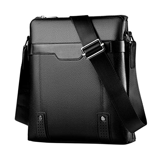 Casual Men Solid Color Faux Leather Business Briefcase Crossbody Shoulder Bag – Black