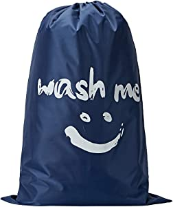NISHEL Wash Me Laundry Bag, 28x40 inches Rips & Tears Resistant Large Dirty Clothes Storage Bag, Machine Washable, Heavy Duty Laundry Hamper Liner for College Students, Blue