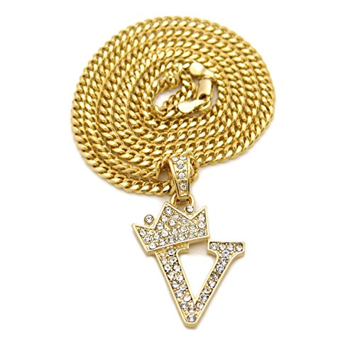 Fashion 21 Unisex Small Size Pave Crown Tilted Initial Alphabet Letter Pendant 3mm 24
