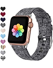 HUMENN Compatible with Apple Watch Strap 38mm 40mm 42mm 44mm, Replacement Woven Fabric Band Nylon Sport Wristband with Stainless Metal Buckle for iWatch Series 4 3 2 1