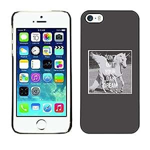 Cubierta de la caja de protección la piel dura para el Apple iPhone 5 / 5S - unicorn daydream grey wings horse