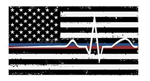 Back The Red & Blue Stacked decal - Thin Blue/Red Line flag thin line EMS