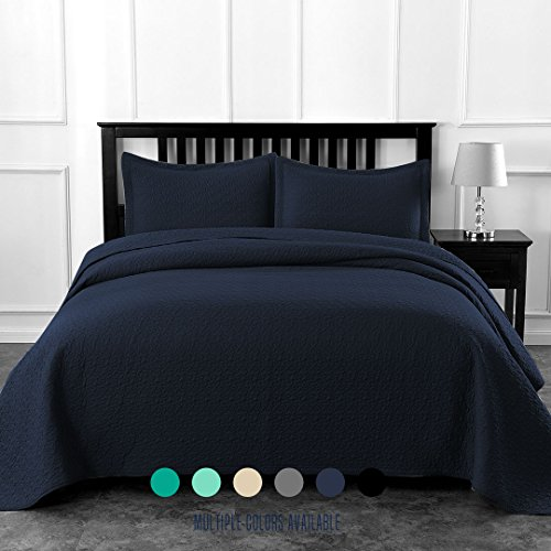 Luxe Bedding Solid Color Lightweight Oversize Cotton Filled Stitch 3-piece Jigsaw Bedspread Coverlet Set (Full/Queen, Navy Blue) - Stitch Coverlet Set