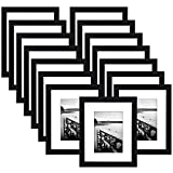 15 Pack - 8x10 Black Picture Frame - Made to Display Pictures 5x7 with Mat or 8x10 Without Mat