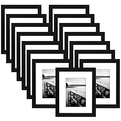 15 Pack - 8x10 Black Picture Frame - Made to Display Pictures 5x7 with Mat or 8x10 Without Mat by Americanflat