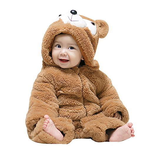 [Boomtrader Unisex Cute Baby Furry Bear Costume Warm Costume Baby Halloween Costume] (Man Riding Teddy Bear Costume)