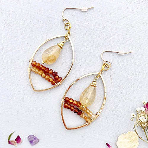 Hessonite Garnet Earrings - Hessonite garnet stone, citrine stone, wire wrapped, gold, brass metal earrings. Handmade jewelry