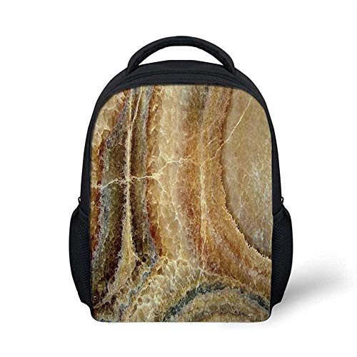 Marble Stylish Backpack,Onyx Stone Surface Pattern Banded Variety Layered Differing Lines Image Decorative for School Travel,9.4