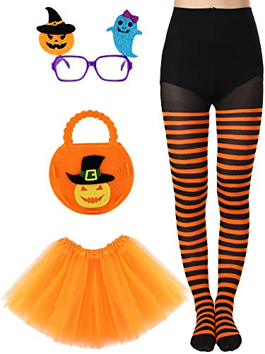 Calabaza Halloween Disfraz (4 Pieces Halloween Costume Accessories, Including Striped Legging, Pumpkin Candy Bag, Tutu Skirt, Pumpkin Ghost Glasses for Girls (6-14 Years)