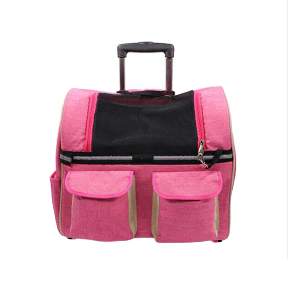Dog Cat Rolling Bag Portable Pet Bag Trolley Transport Box And Telescopic Handle, Suitable For Kittens And Puppie