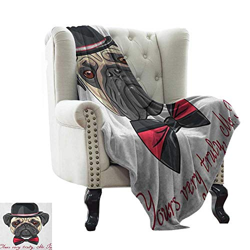 Used, Pug, Weave Pattern Extra Long Blanket, Sketch Style for sale  Delivered anywhere in USA