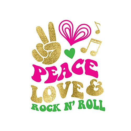 PEACE LOVE ROCK N ROLL set of 25 assorted premium colorful hippie inspired metallic gold temporary Flash Tattoos - use for 70's themed celebrations, party favors, peace sign, heart (Tattoo Rock Inspired N Roll)