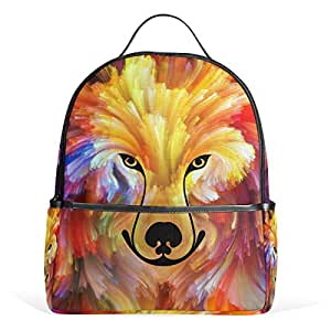Mydaily Dog Colorful Painting Backpack for Boys Girls School Bookbag