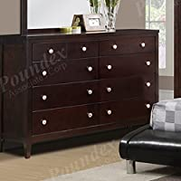 Contemporary Wood Dresser with Storage Drawers by Poundex