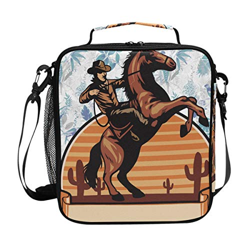 (Cowboy Ride A Horse Rodeo Lunch Bag with Zip Closure Insulated Lunch Box Tote Bag For)