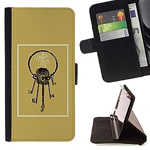 Momo Phone Case / Flip Funda de Cuero Case Cover - Guitarra Teclas Significado de oro de Brown - HTC One M9