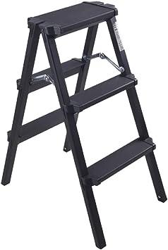 Escalera plegable taburete banqueta Escalera de mano negra Escalera plegable de 3 pasos, Taburete ligero de aluminio resistente para el hogar de la cocina con un paso ancho, 150 kg: Amazon.es: Bricolaje