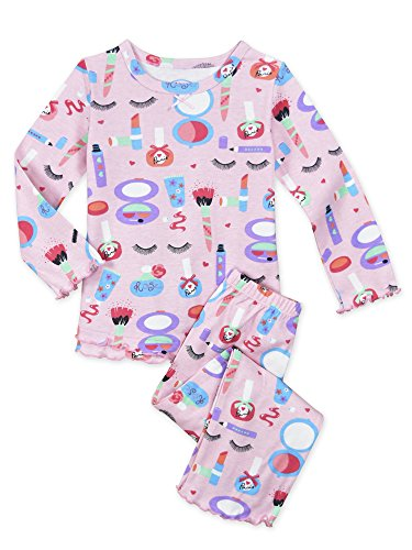 (Sara's Prints Little Girls Cozy Ruffled Relaxed Fit Pajama Set, Let's Make Up-Lmu_1,)