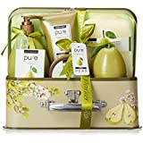 Luxury Spa Gift Basket, PURE Spa Basket -Bath and Body Gift Set. Pear Bath Set Includes Bubble Bath, Body Scrub, Shower Gel, & more! #1 Gift Baskets for Women! (Large)