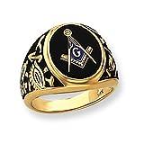 Men's 14K Yellow Gold Black Onyx Masonic Ring