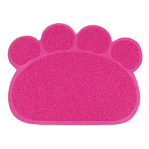 Alfie Pet by Petoga Couture - Gwenda Cat Litter Mat - Pattern: Hot Pink Paw, Size: S